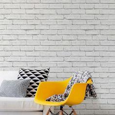 Papel de Parede Tijolo Branco. Cada produto vem com 2 rolos de 50cm x 2,5 metros de altura, totalizando 1m x 2,5m de altura, R$199,00 na i-Stick