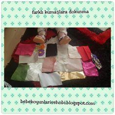 Bebek oyunları ve hobi: Farklı kumaşlara dokunuyoruz (sensory fabric)