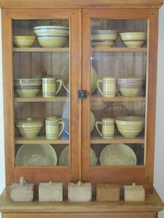Cupboard with Yellow ware!