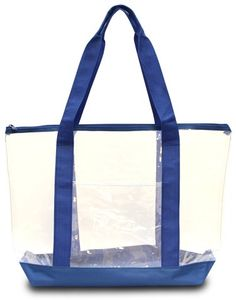 Clear Tote Bag: Clear/ Royal Case Of 50  http://www.alltravelbag.com/clear-tote-bag-clear-royal-case-of-50/