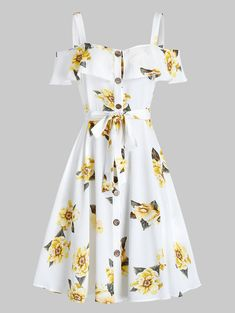 Rosegal / Flower Print Button Through Belted Dress Girls Fashion Clothes, Teen Fashion Outfits, Cute Fashion, Girl Outfits, 2000s Fashion, Fashion Fashion, Cute Prom Dresses, Pretty Dresses, Beautiful Dresses