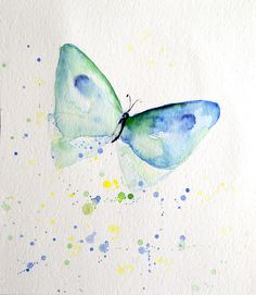 Butterfly - Original painting . Media: watercolor Signed and titled on the back. Slightly signed on the front.  All rights reserved. Size: approximately 20.4 cm x 18 cm  Colors may vary...