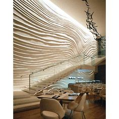 Texture Wall   Glass Stair  Dramatic Accent Light  Neutral Palette    The W Hotel NYC circa 2002