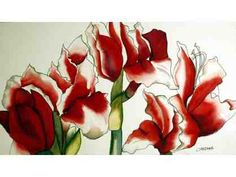 """""""Amaryllis,"""" Watercolor on Archers by Carolyn Sherman. It can be yours by bidding now!"""