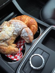 A quick pick up and pick me up from Wanda's.  Fresh baked buttery, flaky almond and plain are with me today.