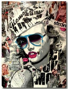 Modern Pop Art. The cut newspaper prints, the blue sunglasses and the 'Lady gaga' and 'Marylin Monroe' look a-like woman looks great. The colours that have been picked were chosen wisely and makes a awesome collage. I would love to make something like this.