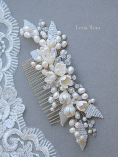 Bridal hair comb / Bridal comb pearls / by LenaRomHeadpieces Bridesmaid Hair Accessories, Bridal Accessories, Headpiece Wedding, Bridal Headpieces, Bridal Comb, Hair Decorations, Hair Beads, Wedding Hair Pieces, Hair Ornaments