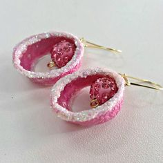 Silk cocoon earrings, PINK earrings, Lightweight earrings, SALE, Boho Jewelry, Boho Dangle Earrings, gift for her, Women gift, Greek shop