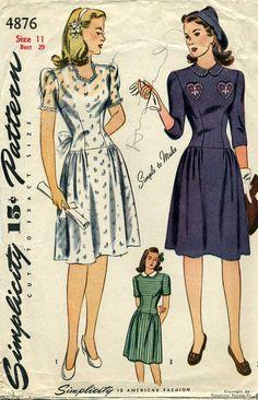 1940's Simplicity 4876, c. 1944 Size: 11 Bust: 29 Waist: 24 1/2 Hip: 32