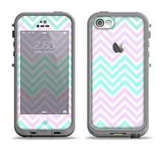 The Light Teal & Purple Sharp Chevron Apple iPhone 5c LifeProof Fre Case Skin Set