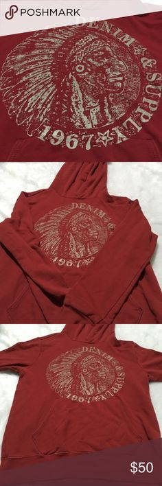 Ralph Lauren Denim & Supply 1967 American Indian M Ralph Lauren Denim & Supply 1967 Red Native American Indian Head Hoodie Med Polo  This Hoodie Sweatshirt is still in excellent gently used condition.  Missing draw string see photo with dime in it.Please take a look at all photos for condition and if you have any questions feel free to ask.  Color: Red  Brand: Ralph Lauren  Size: M  Measurements while flat  Armpit to Armpit: 19.5  Length: 25.5  location; T4.6 Ralph Lauren Shirts Sweatshirts…