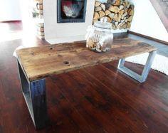 A mano legno recuperato & tavolino in acciaio di DesignInFocus