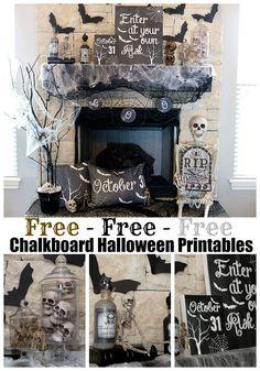 FREE Halloween Decoration Printables - Mantel Decor - Spooky Halloween #halloween #freeprintable