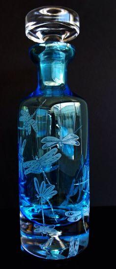 Elegant cobalt decanter hand engraved with dragonflies on Etsy, $799