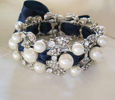 NAVY BLUE  Bracelet - Swarovski pearls and rhinestone /  Bridal Bracelet ,Weddings  Rinestone, Crystal,pearl. $46.00, via Etsy.
