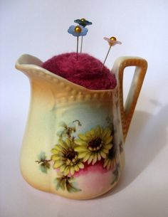 Needle Felted Pin Cushion in Vintage Ceramic Pitcher