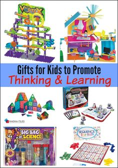 Gifts for Kids to Promote Thinking and Learning - the ultimate gift guide with toys and games to get kids thinking! Kids Learning Activities, Sensory Activities, Preschool Ideas, Toddler Activities, Special Kids, Kids Board, Holiday Gift Guide, Holiday Ideas, Educational Toys