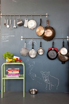 Add a little chalk paint for the perfect place to hang your kitchen necessities.
