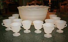 I have this set! Punch Bowl Set, Winter Wonderland Wedding, Milk Glass, Frost, Potty Training, Kitchen Stuff, Unique Jewelry, Tableware, Handmade Gifts