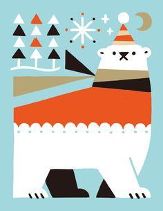 Christmas polar bear in sweater and scarf contemporary holiday art print / Shunsuke Satake. Retro Illustration, Christmas Illustration, Japanese Graphic Design, Christmas Art, Book Design, Vintage Posters, Amazing Art, Art Paintings, Deco