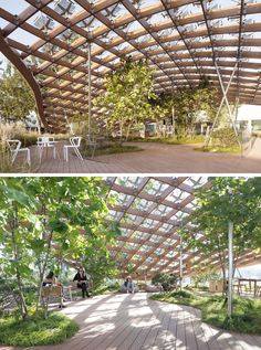 """Architecture Nature MAD Architects together with Hanergy have created """"Living Garden"""", a modern pavilion that breaks down the boundaries between interior and exterior, giving inhabitants the feeling that they are living in nature. Landscape Architecture Model, Natural Architecture, Timber Architecture, Plans Architecture, Architecture Concept Drawings, Pavilion Architecture, Garden Architecture, Sustainable Architecture, Landscape Design"""