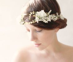 Woodland hair crown Rustic flower crown boho wedding by whichgoose