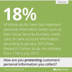 of online adults have had important personal information stolen such as their Social Security Number, credit card, or bank account information, according to January 2014 Pew Research Center study. An increase from in July Pew Research Center, Accounting Information, Bank Account, Social Security, Statistics, Infographics, January, Study, Number