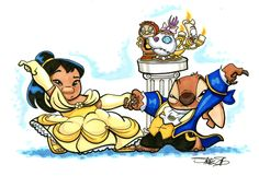 lilo and stitch beauty and the beast cogsworth lumiere Jumba pleakley Mrs. Potts Scrump