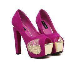 Fashion women peep toe pumps high heel shoes
