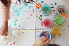 Crafts: 7 fun ideas for painting outside, including colour bubble painting!