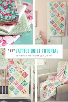 Baby quilt tutorial - perfect for using charm squares. Learn a new quilting skill - how to sew together patchwork squares on point.