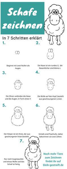 Eine Anleitung zum Zeichnen und malen eines Comic Schafs