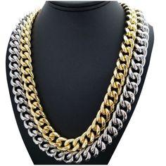 "Hip Hop Gold PT Lab Diamond Iced Lock 10mm 24/"" 30 Miami Cuban Chain Necklace"