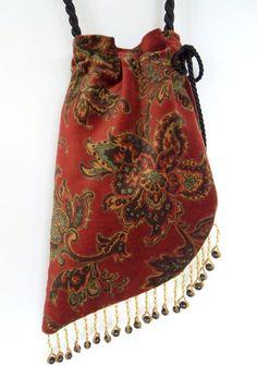 Angled paisley boho bag