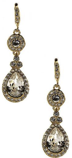 Givenchy 10kt Gold Plated Swarovski Crystal Teardrop Earrings