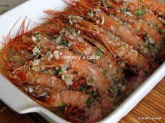 gambon al horno Kitchen Recipes, Cooking Recipes, Tapas, My Favorite Food, Favorite Recipes, Baked Shrimp, Spanish Food, Barbacoa, Fish Recipes