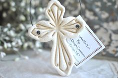 Ornate Imprinted Cross Salt Dough Ornament
