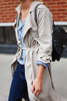 Style Inspiration: love the trench                            also the b 7 w mini stripe blouse