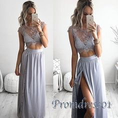 Two pieces prom dress, ball gown, cute lavender lace chiffon prom dress with slit