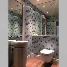 Really love this shot of our 'Birds of a Feather' wallpaper in a clients bathroom! Image courtesy of Keates Interiors, Cheshire, UK. #guineafowl #wallpaper #wallcoverings #metallicwallpaper #bathroom #instalove #inspiration #interiordesign #homedecor #homestyling #colour #design #detail #fbf
