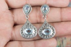 Silver Studs – Handmade Blue Topaz Gemstone 925 Silver Earring – a unique product by ArtisanJewellery on DaWanda