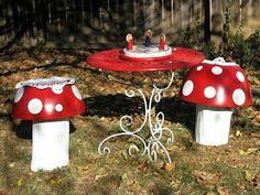 toadstool chairs and table – natural playground ideas Mushroom Stool, Mushroom Decor, Best Chair For Posture, Old West Decor, Natural Playground, Playground Ideas, Playground Design, Fairy Bedroom, Garden Mushrooms
