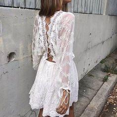 White Boho Summer Dress @theBohoFairy Important Note:Please check your size with thechartto make sure you order thecorrectsize.   https://bohofairy.com/shop/white-boho-summer-dress/ #BohoFairy #bohemian #boho #bohochic #Backless, #BatwingSleeve, #BeachDress, #BeachSummer, #BohemianStyle, #Boho, #BohoFashion, #Feminine, #Lace, #LongSleeve, #Sexy, #ShortDress, #Summer, #SummerDress, #White