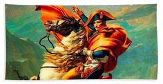 Napoleon Bonaparte Beach Towel featuring the mixed media Napoleon At The Saint-bernard Pass by David