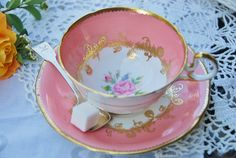 Elegant vintage AYNSLEY Tea Cup and Saucer, Pink Rose and Gilt, England