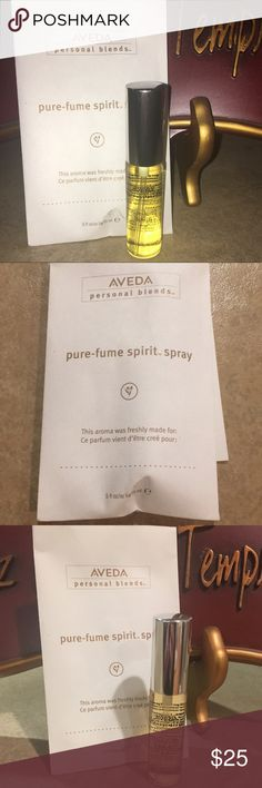 Aveda personal perfume spirit spray Aveda personal perfume scent is shampure! Love this scent! Smell like you just left the salon every day!  Never used. I have several for my own use aveda Makeup