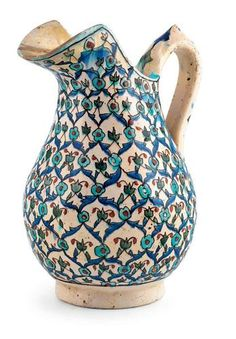 Alif Art  |   Kutahya Ceramic Carafe  The lid has small chips and restorations, 19th - 20th century