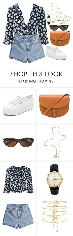 """""""She takes a dip in my daydreams"""" by elo379 ❤ liked on Polyvore featuring Superga, A.P.C., Persol, Mulberry, OMEGA and Forever 21"""