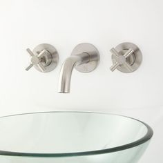 Rotunda Wall-Mount Bathroom Faucet with Pop-Up Drain