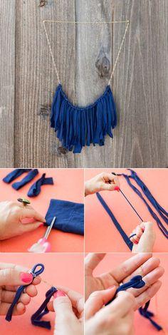 DIY: T shirt flirty fringe Necklace by Brit + Co via Maiko Nagao blog collier